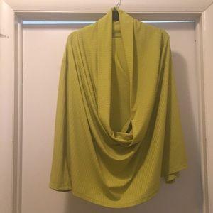 Ashley Stewart Lime Cowl Neck Sweater